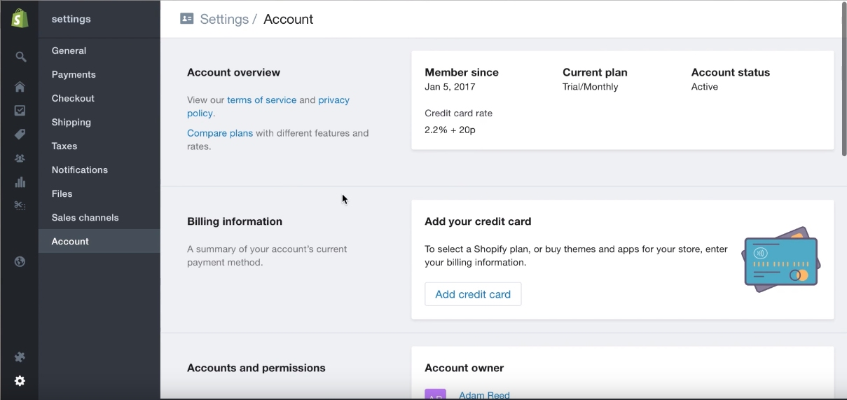 shopify-settings-billing-information